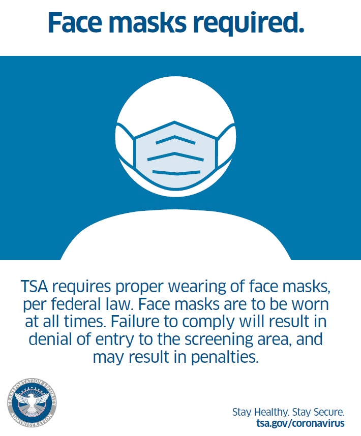 TSA to implement Executive Order regarding face masks at airport security checkpoints and throughout the transportation network