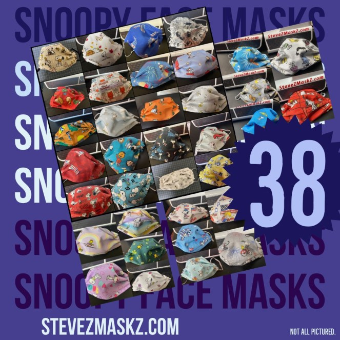 38 Snoopy Face Masks (38 Peanuts Face Masks)