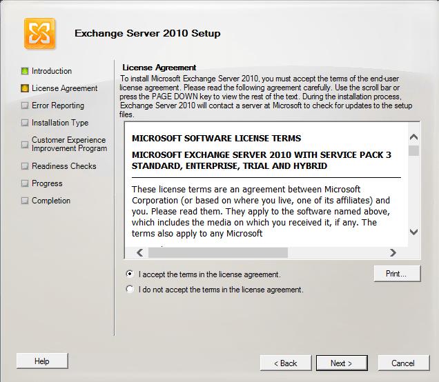 Installing Exchange Server 2010 SP3 on Windows Server 2012