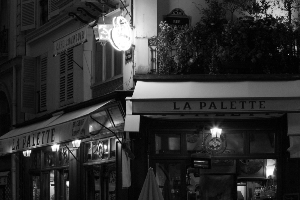 Moody night shot of La Palette Quartier Latin Paris