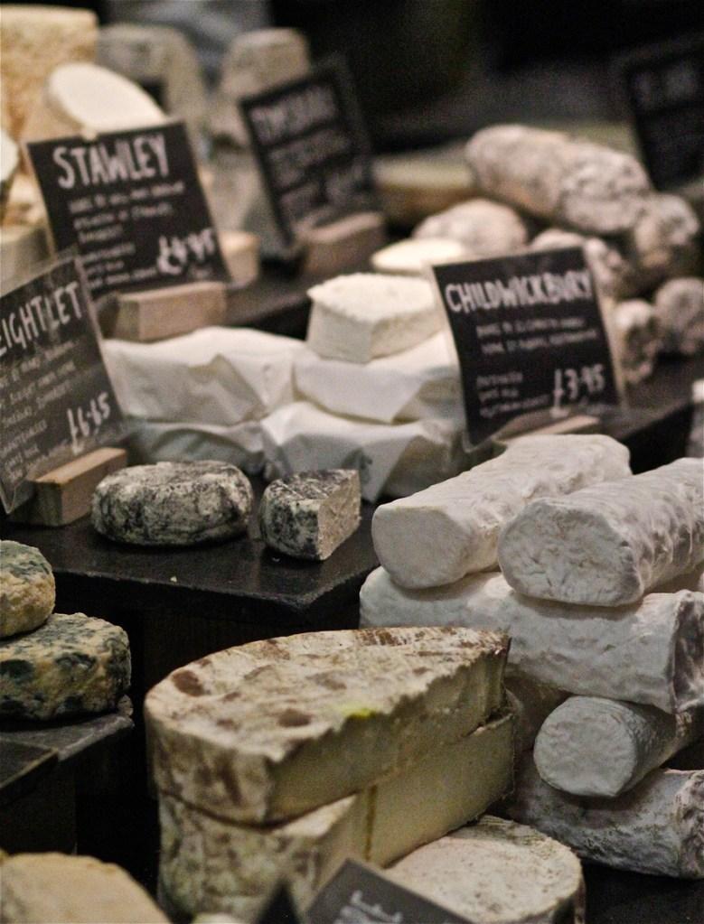 Selection of British farm cheeses at Neals Yard Dairy