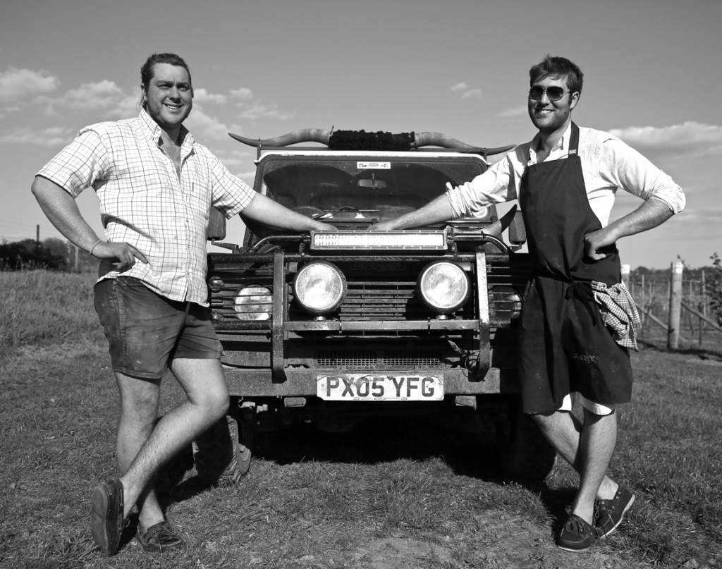 Oliver and Gregory Gladwin: brothers with horned Land Rover at Nutbourne Vineyards, West Sussex. Food and hospitality photography by Stevie Roberts