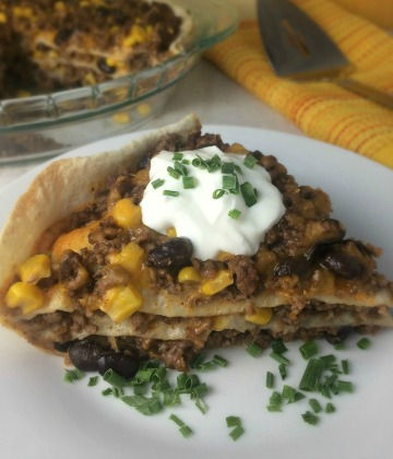 Beef and Black Bean Tortilla Stack