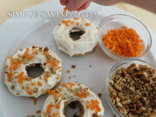 Baked Carrot Cake Donuts With Carrot and  Nut Topping
