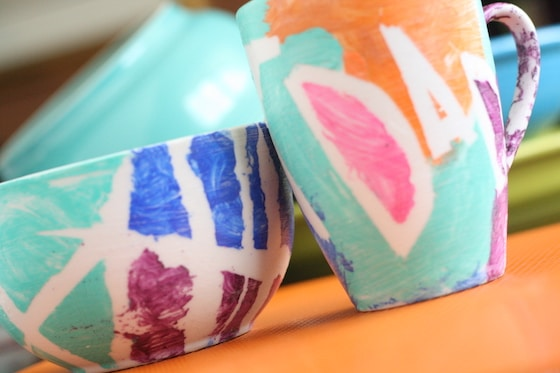 diy tape resist coffee mug and bowl