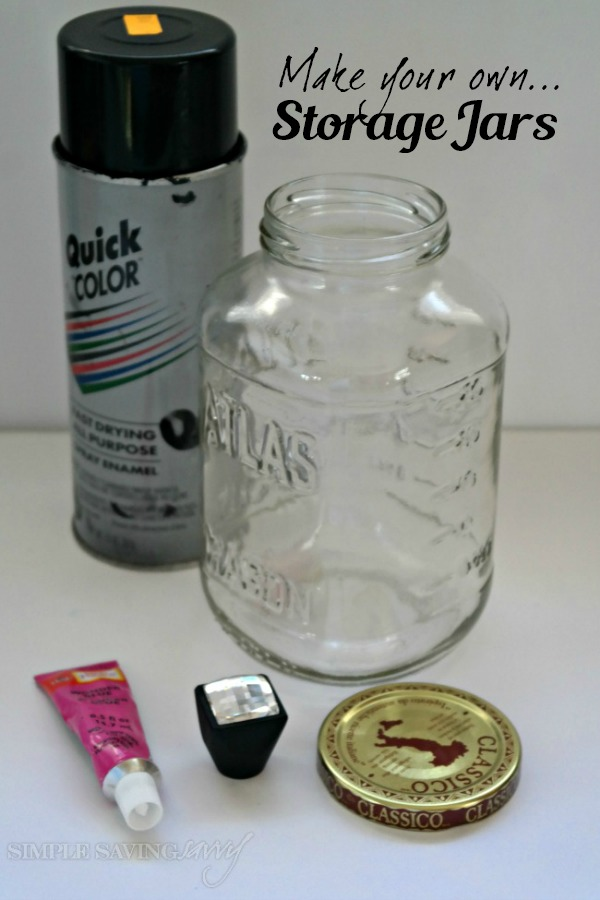 Supplies needed to make your own storage jars