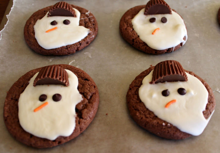 finished melted snowman cookies