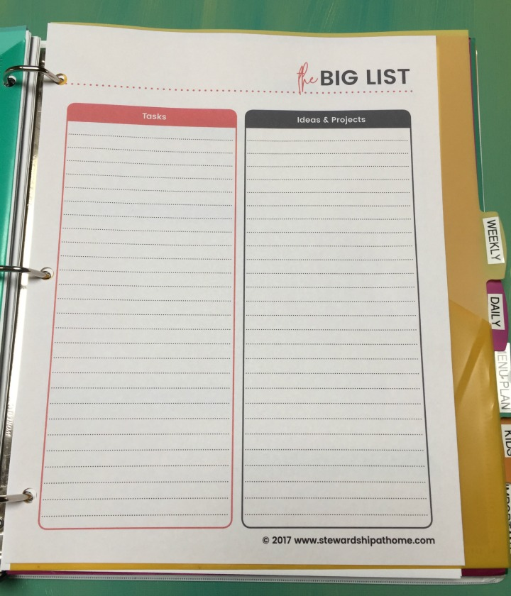 simple household planner the big list printable page