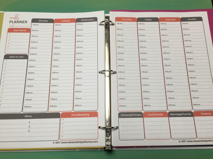 simple household planner 2-page weekly planner printable page