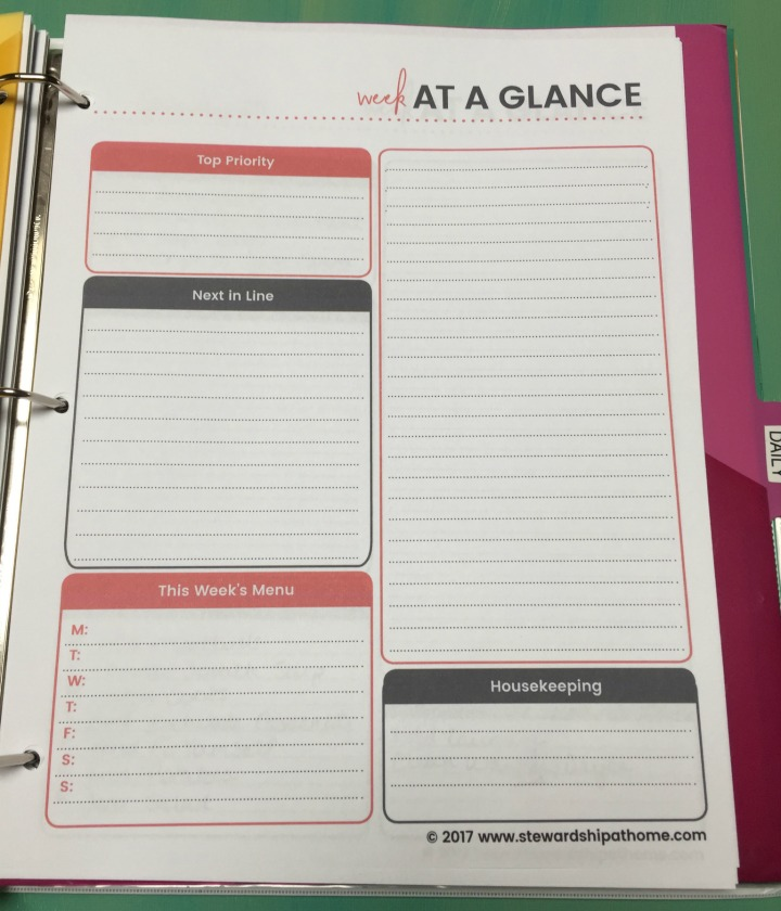 simple household planner weekly planner printable page
