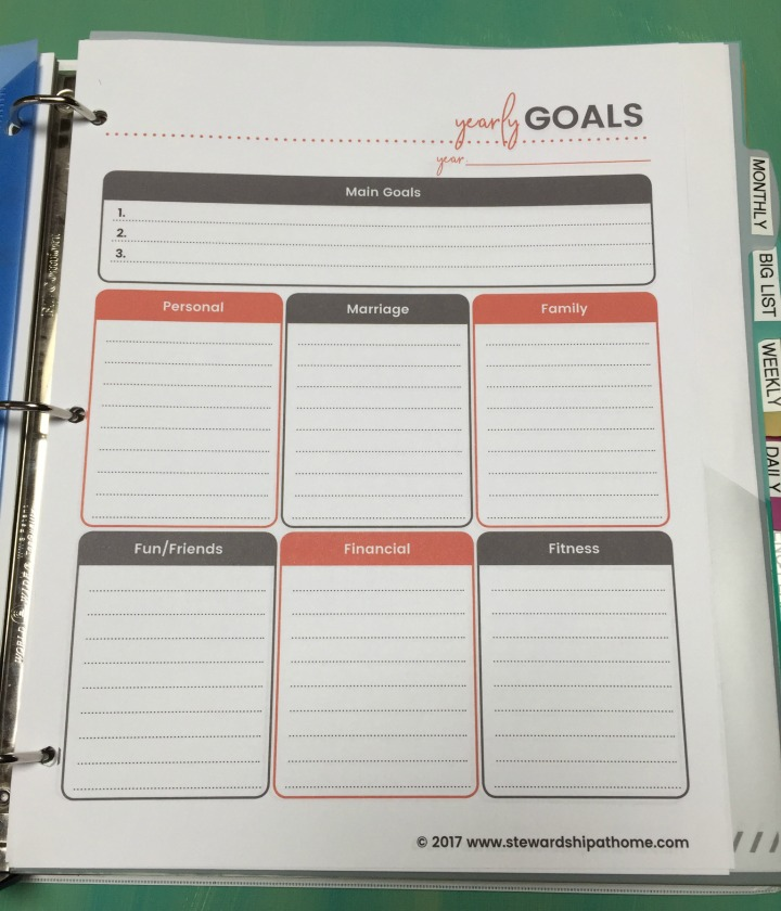 simple household planner yearly goals printable page