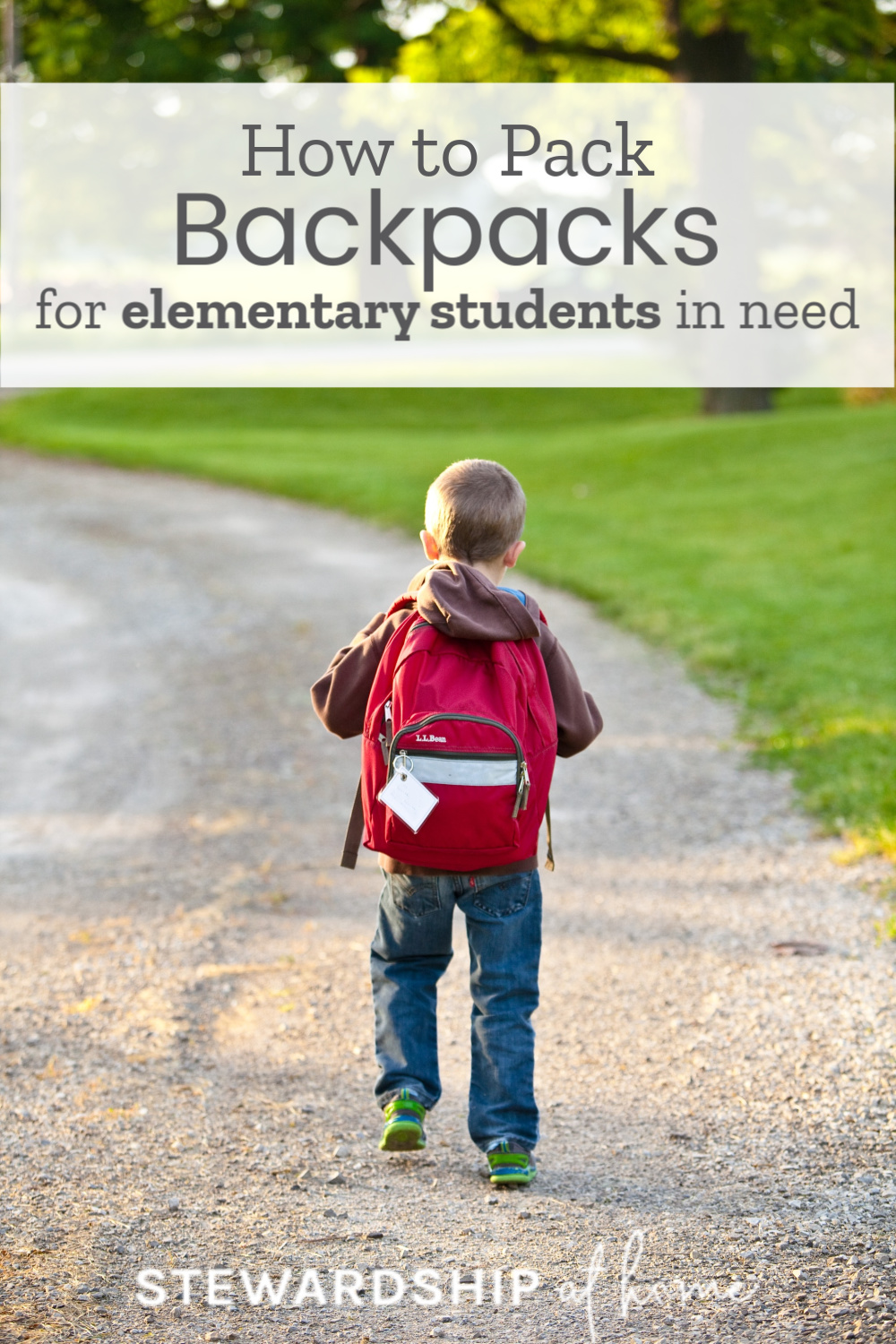 Pack Backpacks for Elementary Students in Need