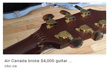 Guitar broken by Air Canada