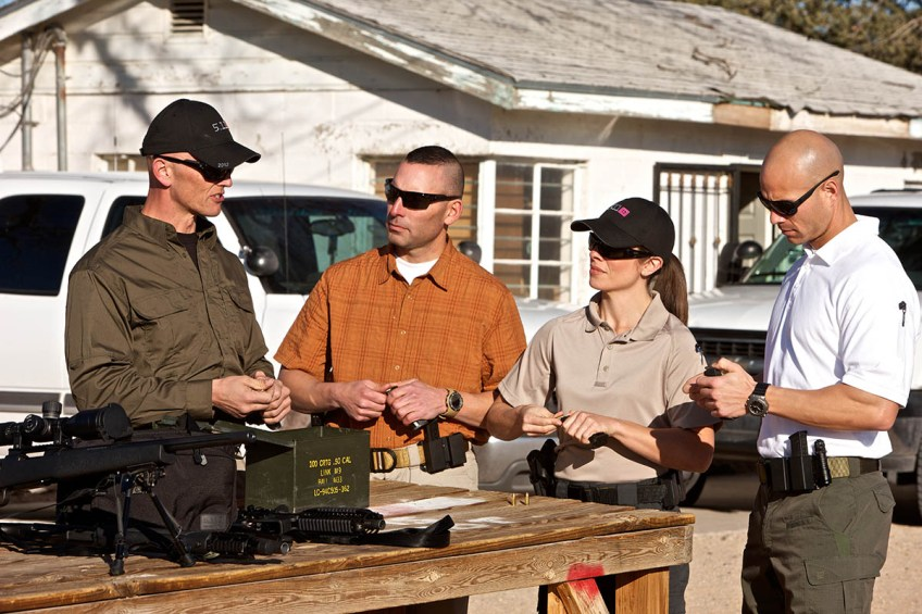 5.11 Tactical Shirts (left to right): Signature Tactical Shirt, Covert Conceal and Carry Shirt, Performance Polo Shirt, Professional Polo Shirt