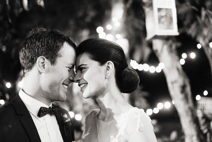 bride and groom black and white night wedding reception time portrait