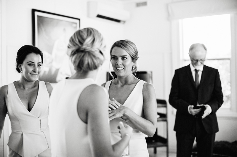 bridesmaids getting ready black and white photography