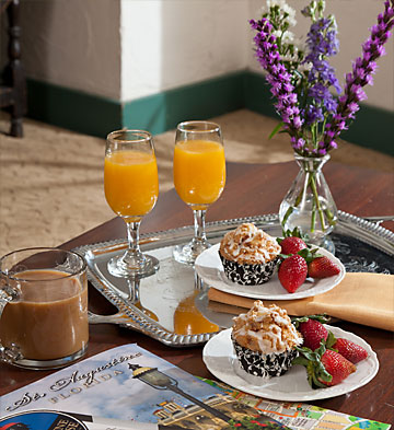 Breakfast Tray with muffins and strawberries