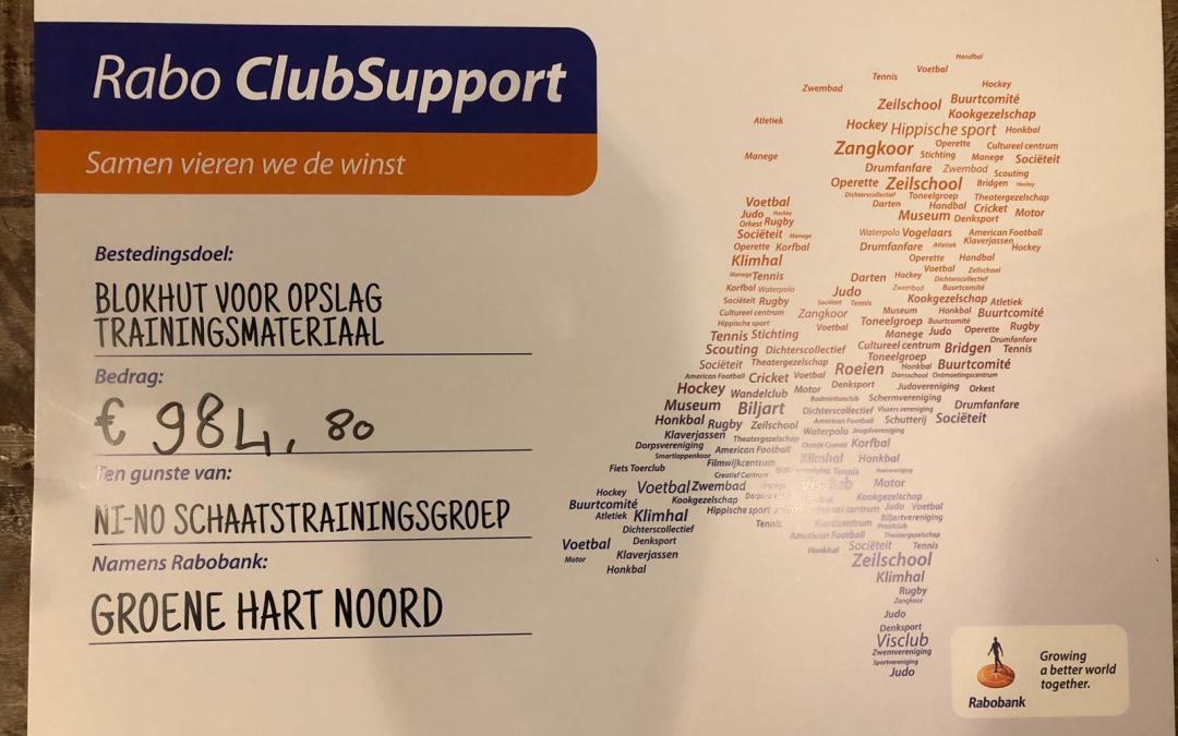 Sponsor cheque Rabo ClubSupport