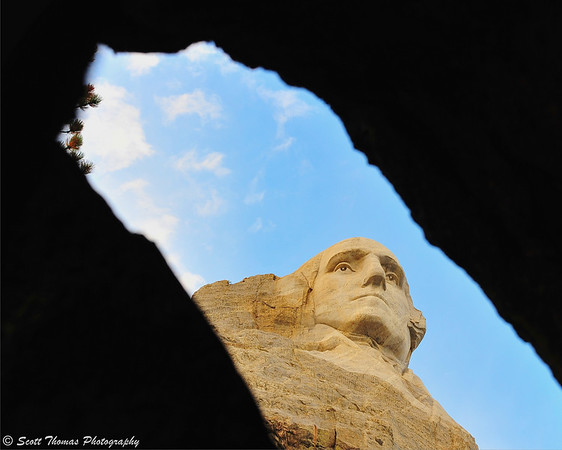 President George Washington through a rock outcropping at the Mount Rushmore National Memorial near Keystone, South Dakota.
