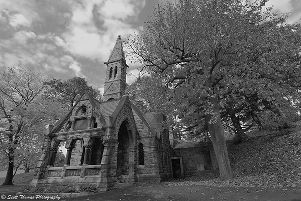 The Chapel in Oakwood Cemetery built in the late 1870's and no longer used today.