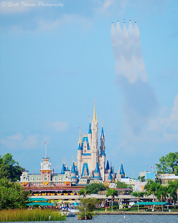 The United States Air Force Thunderbirds flyover the Magic Kingdom on Tuesday, October 26, 2010.
