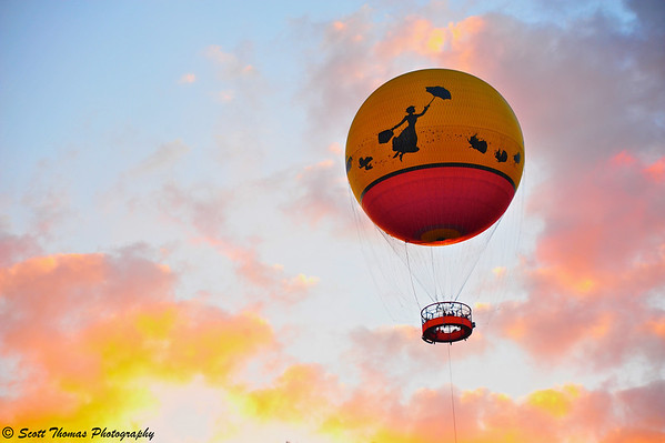 Characters in Flight balloon at sunset in Downtown Disney, Walt Disney World, Orlando, Florida.