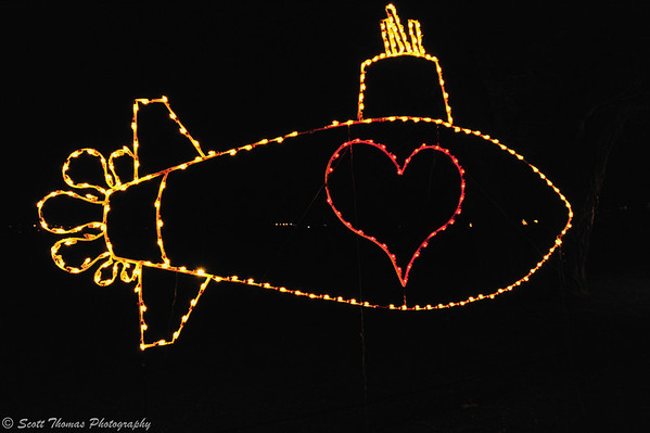 Light display in homage to the days when people parked along the Onondaga Lake parkway to watch the submarine races.