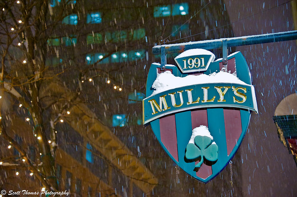 An Irish Pub sign in the middle of a Lake Effect Snow event in Syracuse, New York.