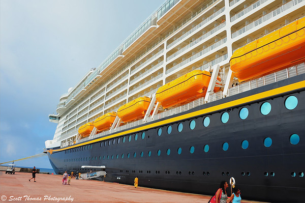 The Disney Dream docked at Castaway Cay where passengers disembark from Deck 2.