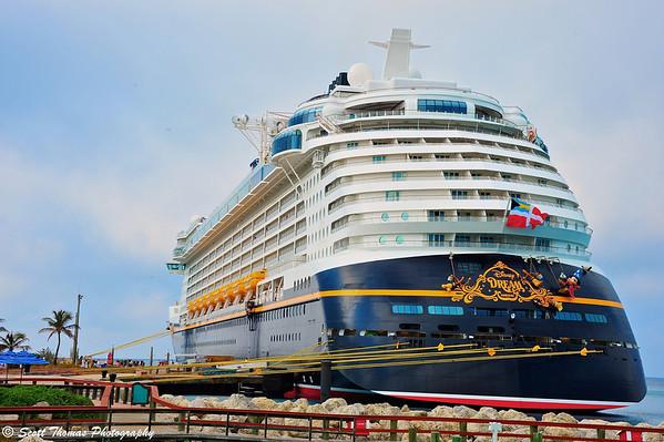 The Disney Dream docked at Castaway Cay in the Bahamas.