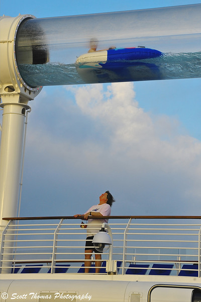 The Disney Dream's AquaDuck water coaster was a popular attraction during the Christening cruise. People were waving away as they slide through the clear tube above decks 11 & 12. The AquaDuck goes out over the ship's side about 150 feet above the ocean's surface.