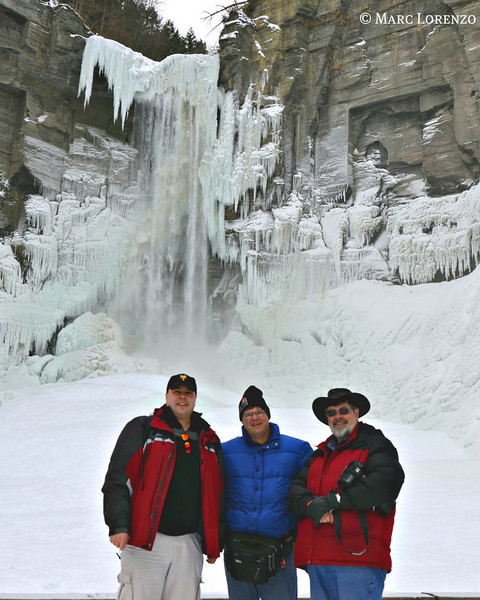 My Taughannock Falls winter adventurers, Marc Lorenzo (left) and Monroe Payne (right) both wearing red.
