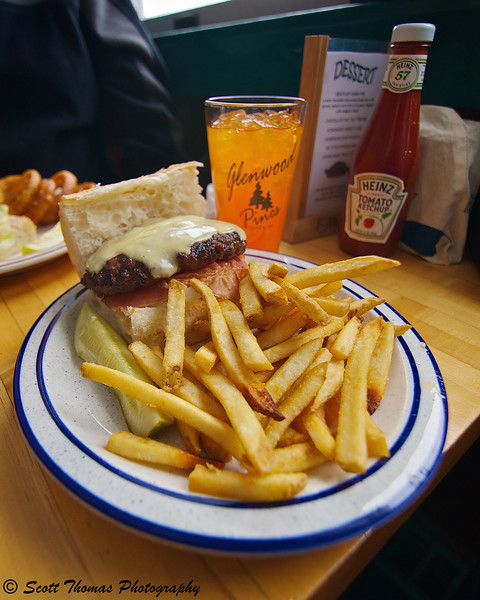 The world famous Pineburger served at the Glenwood Pines restaurant near Ithaca, New York.
