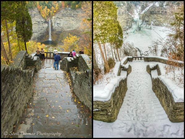 Autumn and Winter overlooking the Taughannock Falls near Ithaca, New York.