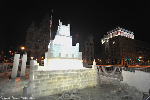 Winterfest Ice Castle in Clinton Square, Syracuse, New York.