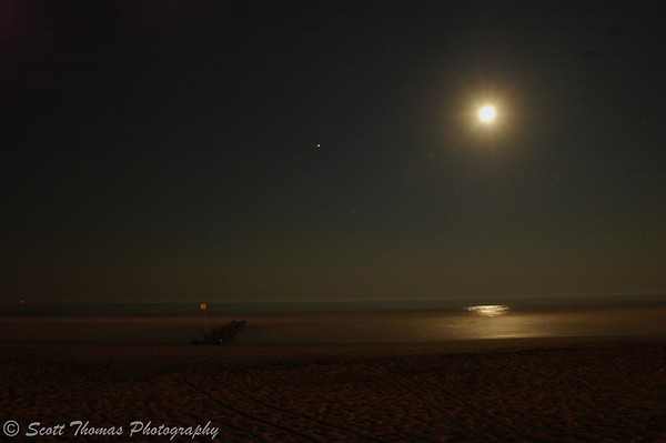 Full moon rising over an Ocean City, New Jersey, beach.