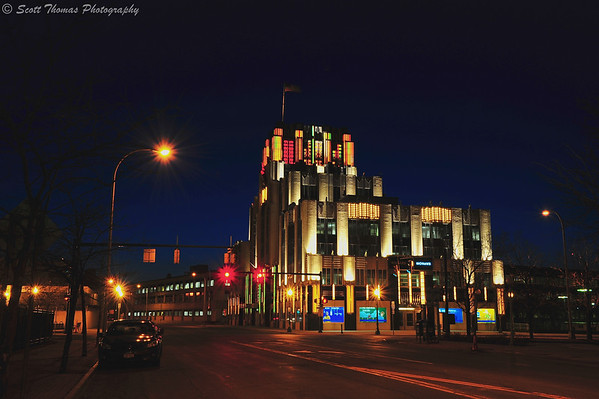 The Niagara Mohawk building in Syracuse, New York with its color lighting display.