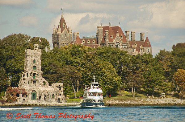 Boldt Castle looms above the trees on Heart Island across from Alexandria Bay, New York.