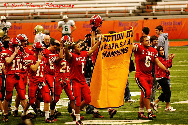 B'ville (Baldwinsville) Bees Football team celebrates the New York State Section III Championship in the Carrier Dome.