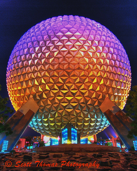Late night HDR image of Epcot's Spaceship Earth in Walt Disney World, Orlando, Florida.