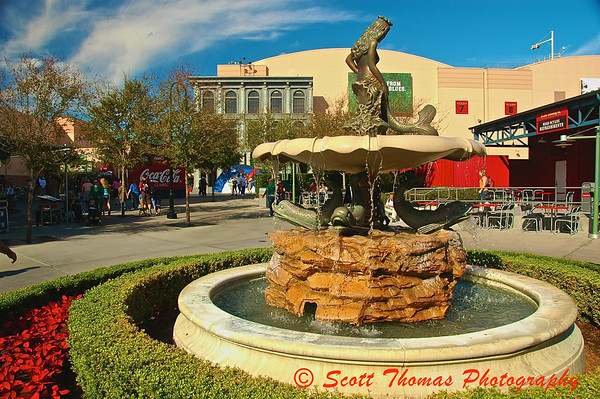 The mermaid water fountain from the movie, Splash, in Disney's Hollywood Studios, Walt Disney World, Orlando, Florida.