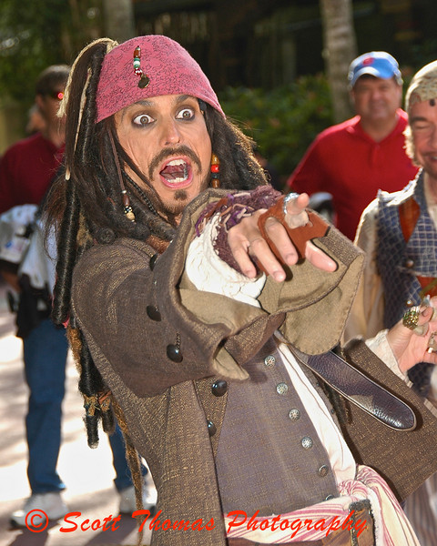 Captain Jack Sparrow during the Pirate Tutorial at the Magic Kingdom in Walt Disney World.