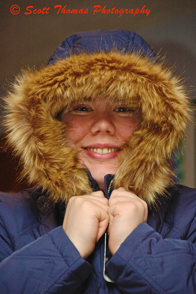 My daughter modeling her new winter coat which is rated to keep her warm down to 40 below zero.