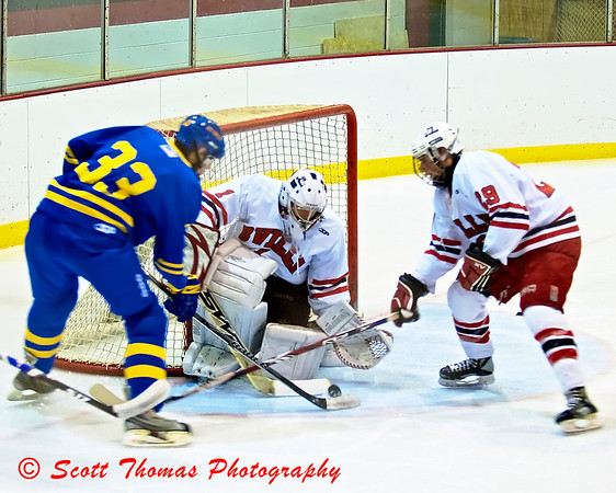 Baldwinsville Bee's goalie Mark Miller (1) and defenceman Jeff Abbott (29) stop West Genesee Wildcat Zach Lewis (33)  scoring attempt in 2nd period action during a CNY Division I ice hockey game on Friday, January 15, 2010.  West Genesee went on to post a shutout, 4-0.