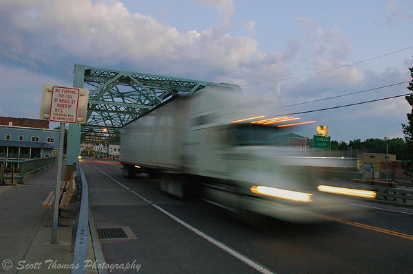 Photo Number 2. Tractor trailer rig exiting the Seneca River bridge.