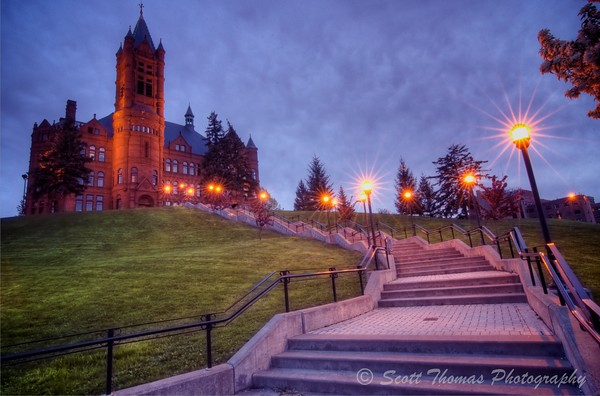A sinister looking Crouse College after some additional adjustments made in Aperture 3.