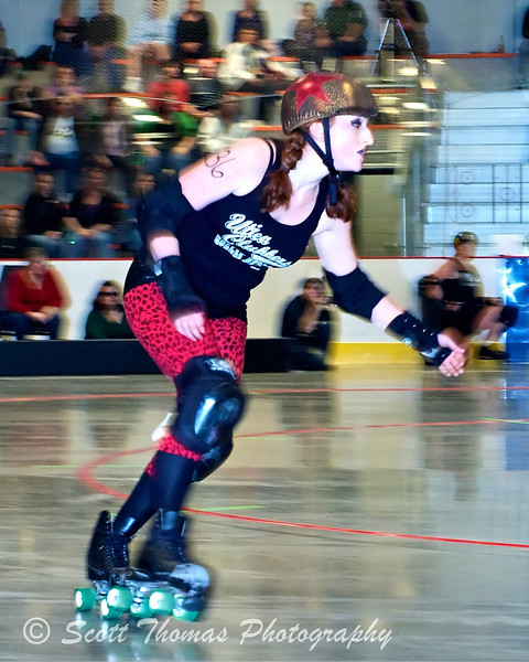 Panning technique was used to capture the action of a roller derby skater whizzing by me.