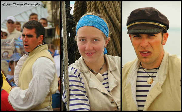 Seasoned members of the Lynx crew (from left to right), Captain Jamie Trost, crew(wo)man from Alaska and another crewmember sporting the clam necklace of the times.