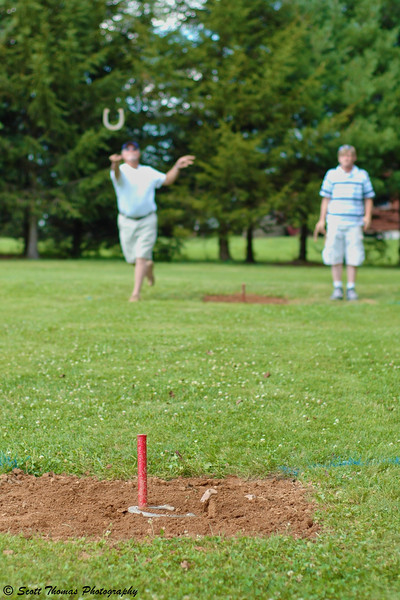 Playing Horseshoes in rural United States.
