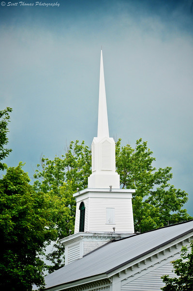 The steeple of the old Methodist Church in Fabius, New York was built in 1860.  The white church is now home to a nursery school.